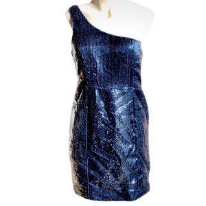 COPY - Forever 21 Sequins Blue Dress One Shoulder…